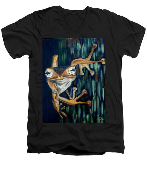 Men's V-Neck T-Shirt featuring the painting Ribbit by Donna Tuten