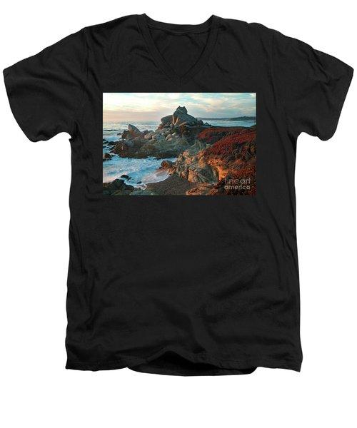 Ribera Beach Sunset Carmel California Men's V-Neck T-Shirt