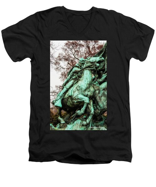 Men's V-Neck T-Shirt featuring the photograph Riding Tight by Christopher Holmes
