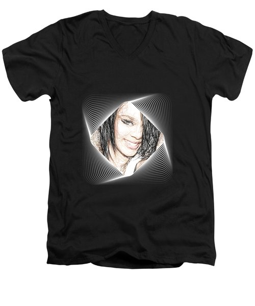 Rihanna  Men's V-Neck T-Shirt by Raina Shah