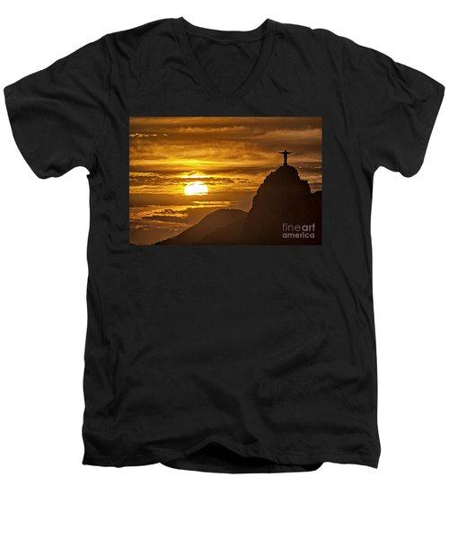 Men's V-Neck T-Shirt featuring the photograph Rio De Janeiro Christ Statue by Juergen Held