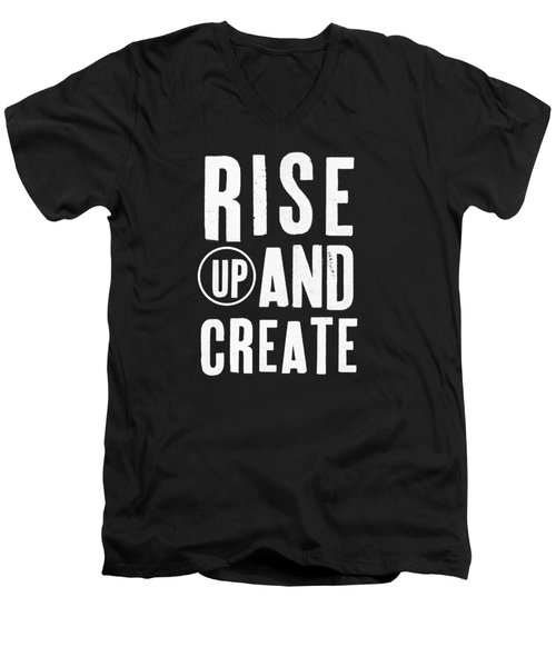 Men's V-Neck T-Shirt featuring the mixed media Rise Up And Create- Art By Linda Woods by Linda Woods