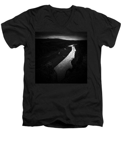 River In The Dark In Iceland Men's V-Neck T-Shirt