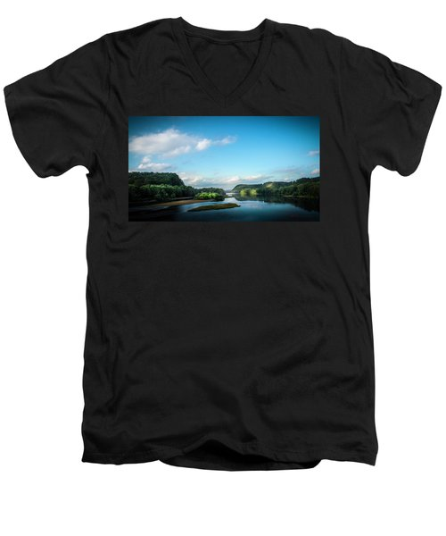 Men's V-Neck T-Shirt featuring the photograph River Islands by Marvin Spates