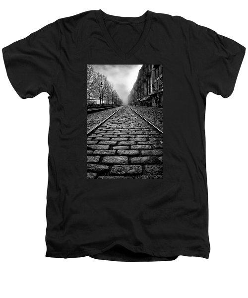River Street Railway - Black And White Men's V-Neck T-Shirt