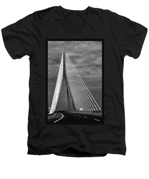 Men's V-Neck T-Shirt featuring the photograph River Suir Bridge. by Terence Davis