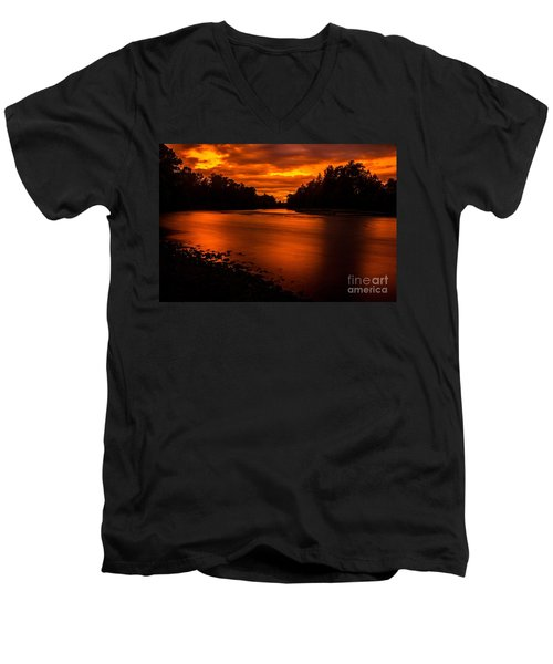 River Sunset 2 Men's V-Neck T-Shirt