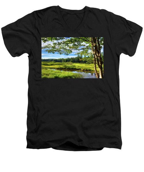 Men's V-Neck T-Shirt featuring the photograph River Under The Maple Tree by David Patterson
