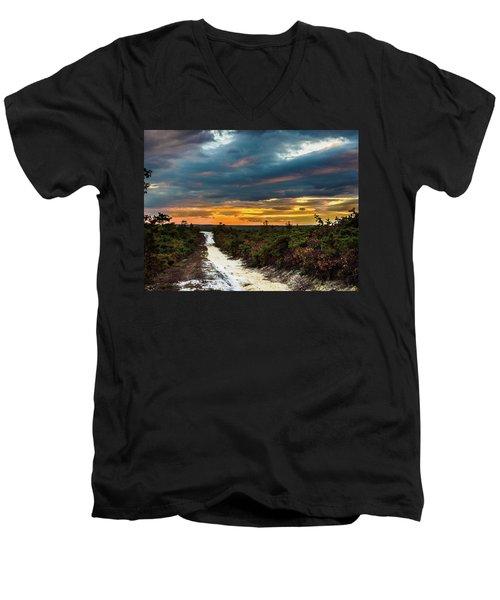 Road Into The Pinelands Men's V-Neck T-Shirt