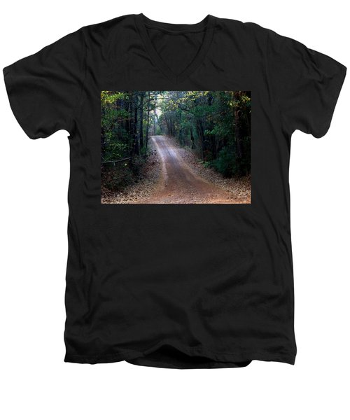 Men's V-Neck T-Shirt featuring the photograph Road Not Taken by Betty Northcutt