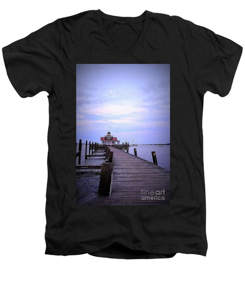 Full Moon Over Roanoke Marshes Lighthouse Men's V-Neck T-Shirt by Shelia Kempf