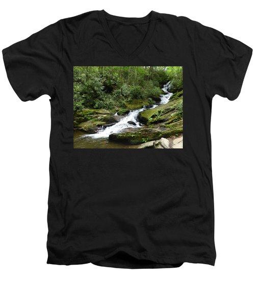 Men's V-Neck T-Shirt featuring the photograph Roaring Fork Falls June 2017 by Joel Deutsch