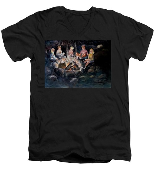Men's V-Neck T-Shirt featuring the painting Roasting Marshmallows by Marilyn Jacobson