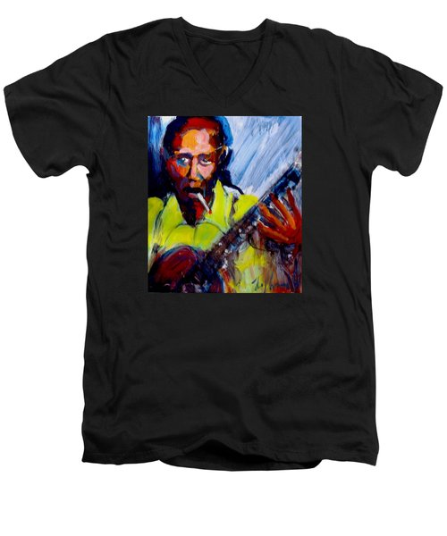 Robert Johnson Men's V-Neck T-Shirt by Les Leffingwell