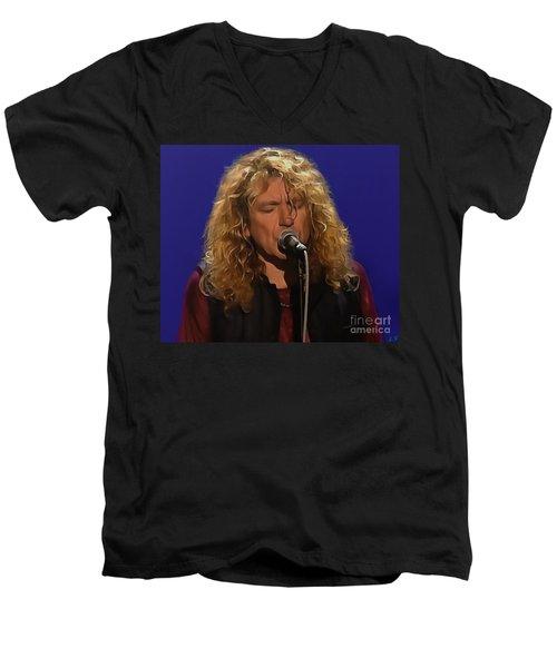 Robert Plant 001 Men's V-Neck T-Shirt by Sergey Lukashin