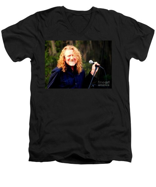 Robert Plant Men's V-Neck T-Shirt by Angela Murray
