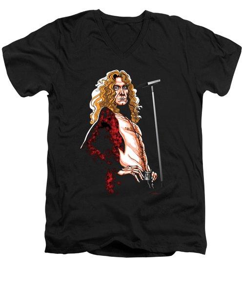 Robert Plant Of Led Zeppelin Men's V-Neck T-Shirt by GOP Art