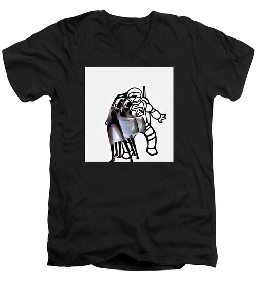 Robot In Love Men's V-Neck T-Shirt by Lisa Piper