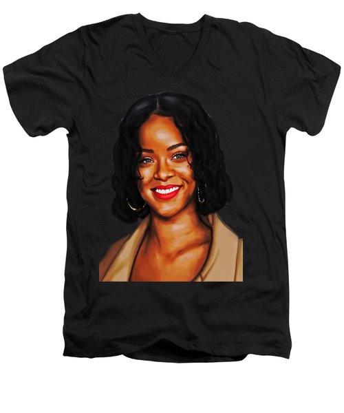 Robyn Rihanna Fenty Canvas  Men's V-Neck T-Shirt