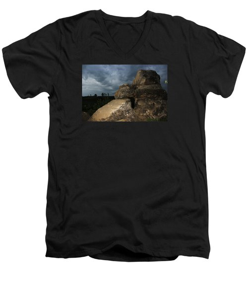 Men's V-Neck T-Shirt featuring the photograph Roche Percee Peak by Ryan Crouse