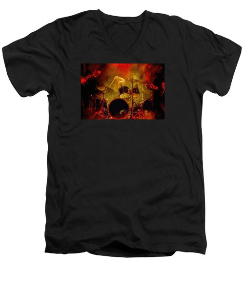 Rock And Roll Drum Solo Men's V-Neck T-Shirt by Louis Ferreira