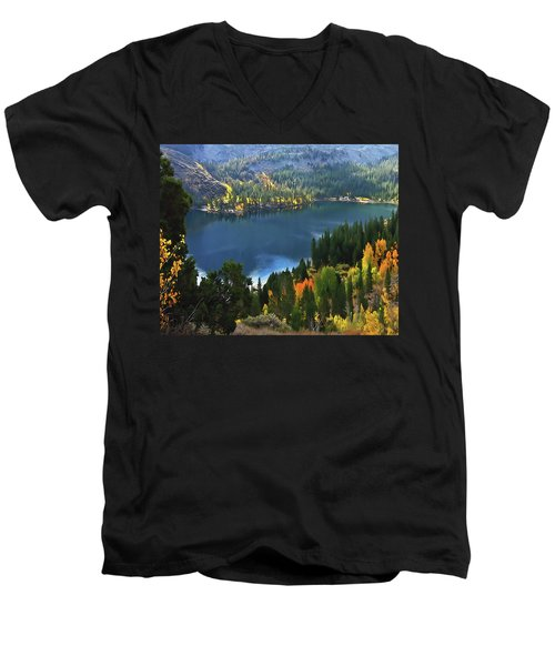 Rock Creek Lake In Fall Men's V-Neck T-Shirt