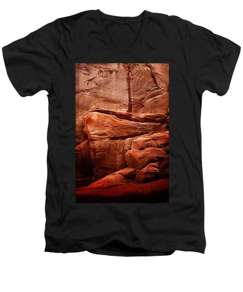 Men's V-Neck T-Shirt featuring the photograph Rock Face by Harry Spitz