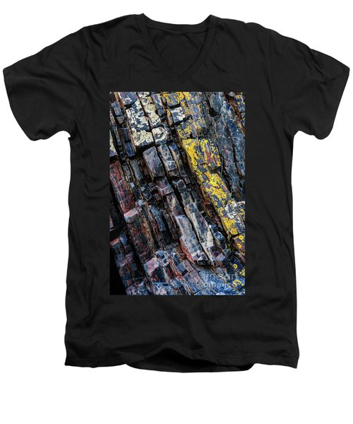 Men's V-Neck T-Shirt featuring the photograph Rock Pattern Sc02 by Werner Padarin
