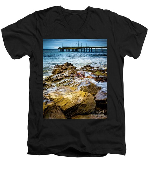 Men's V-Neck T-Shirt featuring the photograph Rock Pier by Perry Webster