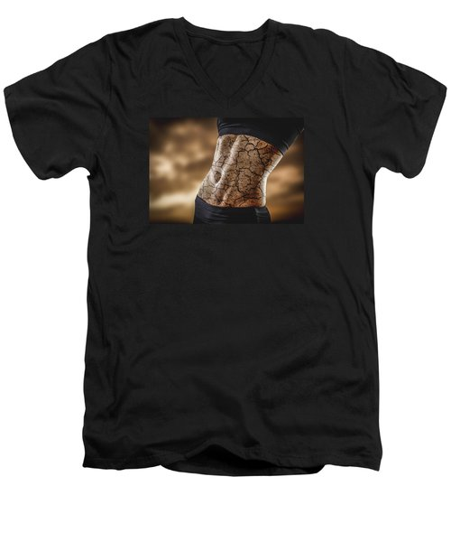 Rock Solid Abs Men's V-Neck T-Shirt by Scott Meyer