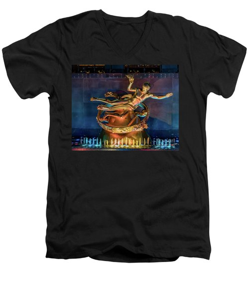 Rockefeller Bronze Men's V-Neck T-Shirt