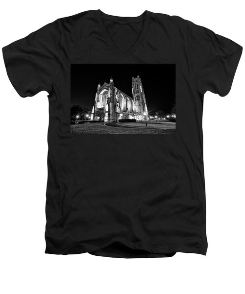 Rockefeller Chapel - B And W Men's V-Neck T-Shirt by CJ Schmit