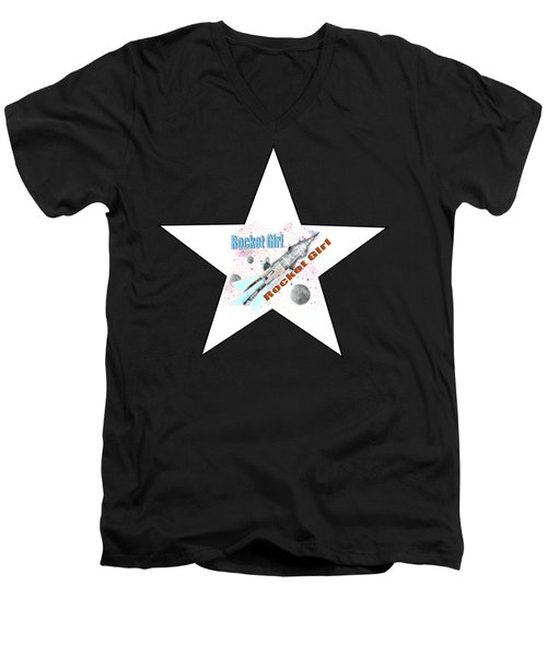 Rocket Girl With Star Men's V-Neck T-Shirt by Tom Conway