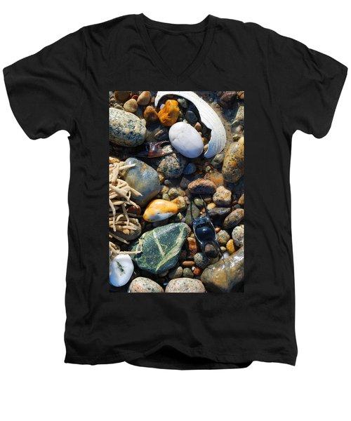 Rocks And Shells On Sandy Neck Beach Men's V-Neck T-Shirt