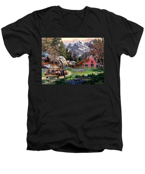 Rocky Mountain Ranch Men's V-Neck T-Shirt