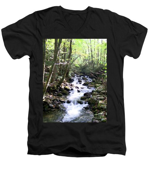 Men's V-Neck T-Shirt featuring the mixed media Rocky Stream 6 by Desiree Paquette