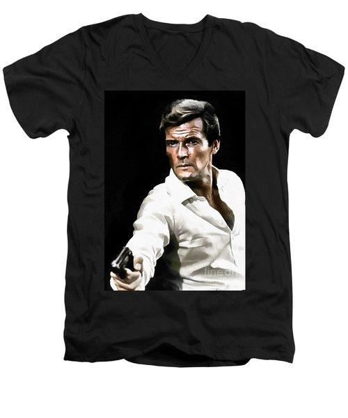 Roger Moore Men's V-Neck T-Shirt by Sergey Lukashin