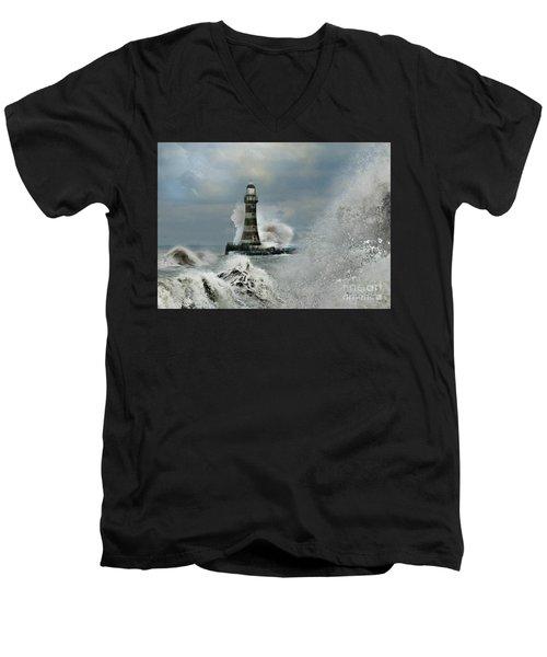 Roker Pier And Lighthouse Men's V-Neck T-Shirt