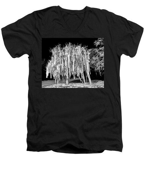 Rolled Tree Blk N White Men's V-Neck T-Shirt