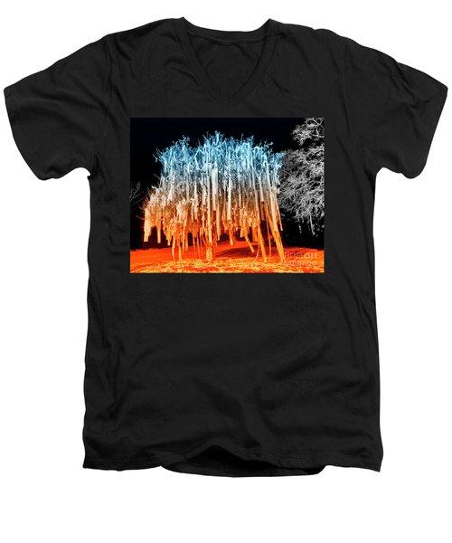 Rolled Tree Orangenblue Men's V-Neck T-Shirt