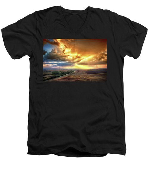 Rolling Rain Of Summer Sunset Men's V-Neck T-Shirt