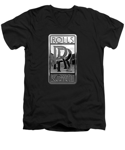 Rolls Royce - 3d Badge On Black Men's V-Neck T-Shirt by Serge Averbukh