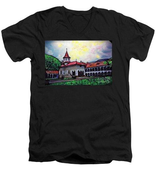 Romanian Monastery Men's V-Neck T-Shirt