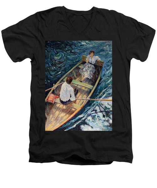 Dordogne , Beynac-et-cazenac , France ,romantic Boat Trip Men's V-Neck T-Shirt