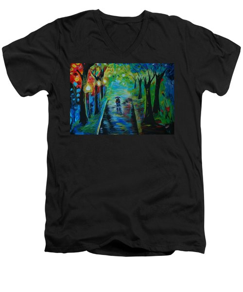 Men's V-Neck T-Shirt featuring the painting Romantic Stroll by Leslie Allen
