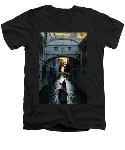 Men's V-Neck T-Shirt featuring the photograph Romantic Venice by Harry Spitz