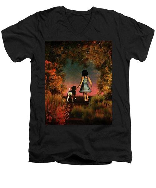 Romantic Walk In The Woods Men's V-Neck T-Shirt