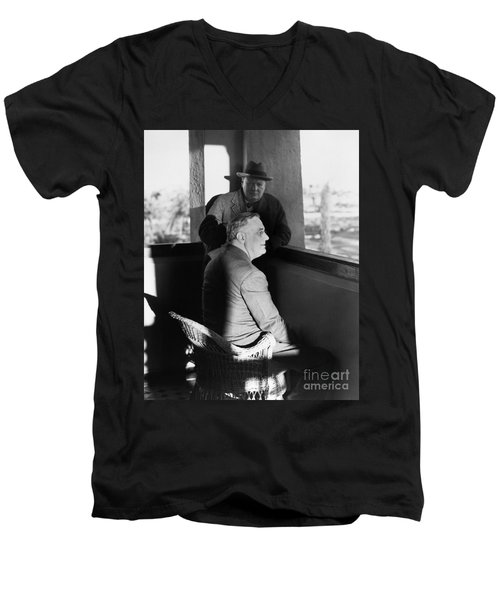 Roosevelt And Churchill Men's V-Neck T-Shirt by Granger