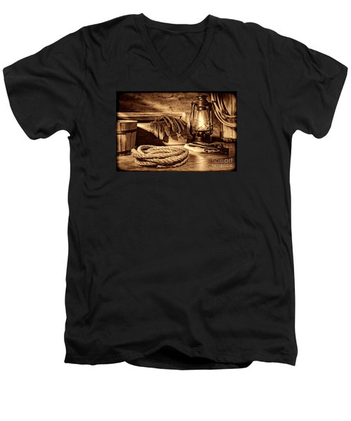 Rope And Tools In A Barn Men's V-Neck T-Shirt