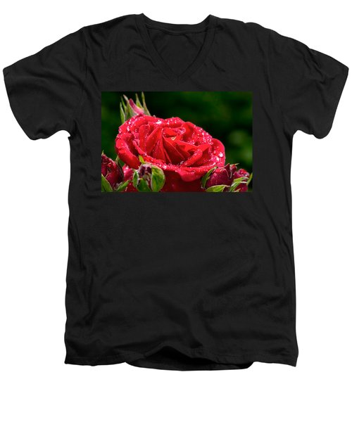 Men's V-Neck T-Shirt featuring the photograph Rose After Rain by Leif Sohlman